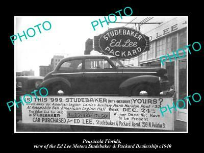 OLD LARGE HISTORIC PHOTO OF PENSACOLA FLORIDA, STUDEBAKER & PACKARD STORE c1940