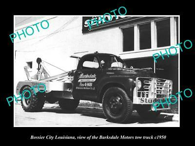 OLD LARGE HISTORIC PHOTO OF BOSSIER CITY LOUISIANA THE BARKSDALE TOW TRUCK c1950