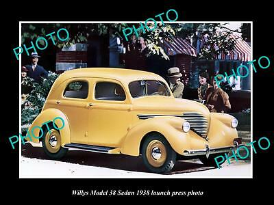 Old Large Historic Photo Of The 1938 Willys Model 38 Sedan Launch Press Photo