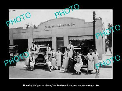 OLD HISTORIC PHOTO OF WHITTIER CALIFORNIA, THE McDANELD PACKARD CAR STORE c1930