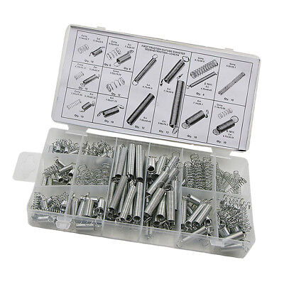 200pc 20 Size Spring Assortment Set Zinc Plated Steel Compression Extension
