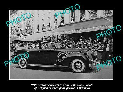 Old Large Historic Photo Of Packard Motors 1938 Car With King Leopald Of Belgium