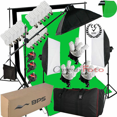 2850W Continuous Lighting Kit Soft Box Bulb Reflector Backdrop Light Stand UK
