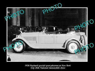 Old Historic Photo Of Packard Motors 1926 Phaeton New York Motor Show Display