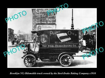 OLD LARGE HISTORIC PHOTO OF BROOKLYN NY, OLDSMOBILE STEEL DRAKE BAKERY CAR c1910