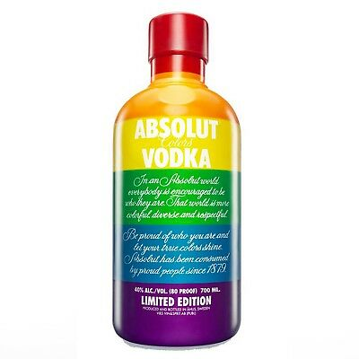 LIMITED EDITION ABSOLUT COLORS VODKA BOTTLE CASE GAY PRIDE LGTBQI 700ml RARE NEW