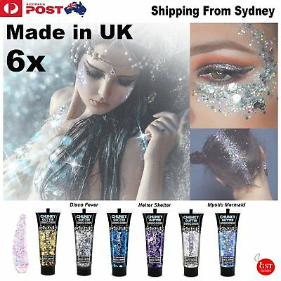 6X Unicorn Tears Chunky Glitter Face Body Paint Gels Make Up Party Beauty Blink