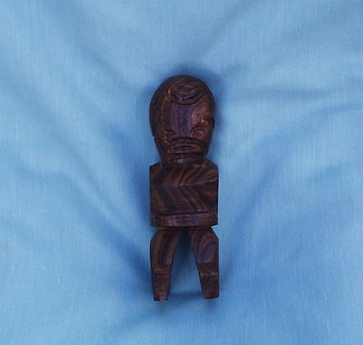 Marquesas Islands French Polynesia Old Hand Carved Wood Tiki Figure