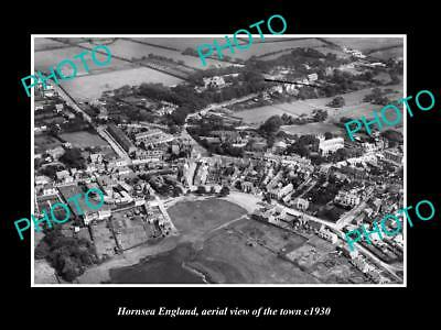 OLD LARGE HISTORIC PHOTO OF HORNSEA ENGLAND, AERIAL VIEW OF THE TOWN c1930 2