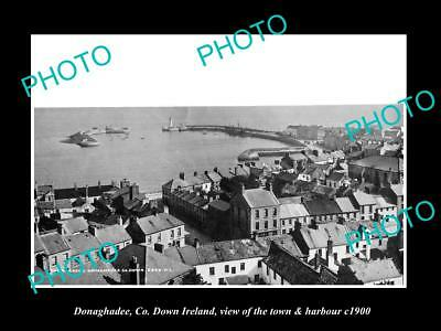 OLD LARGE HISTORIC PHOTO OF DONAGHADEE DOWN IRELAND, TOWN & HARBOUR c1900 1