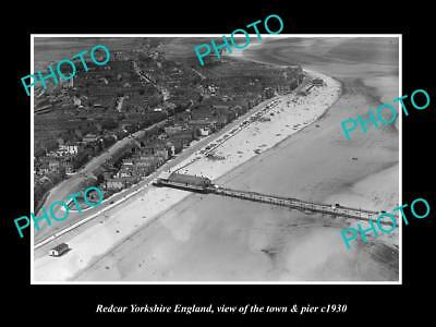 OLD LARGE HISTORIC PHOTO OF REDCAR YORKSHIRE ENGLAND, THE TOWN & PIER c1930