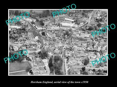 OLD LARGE HISTORIC PHOTO OF HORSHAM ENGLAND, AERIAL VIEW OF THE TOWN c1950 2