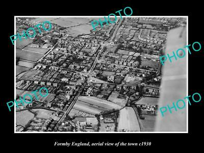 OLD LARGE HISTORIC PHOTO OF FORMBY ENGLAND, AERIAL OF THE TOWN c1930