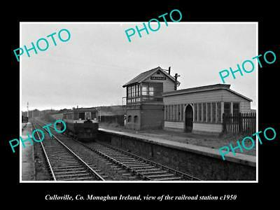 OLD LARGE HISTORIC PHOTO OF CULLOVILLE MONAGHAN IRELAND, RAILWAY STATION c1950