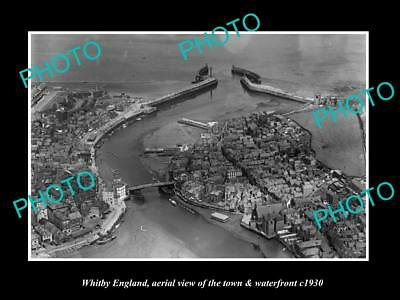 Old Large Historic Photo Of Whitby England, View Of The Town & Waterfront 1930 3