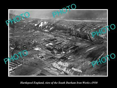 OLD LARGE HISTORIC PHOTO OF HARTLEPOOL ENGLAND, SOUTH DURHAM IRON WORKS c1930