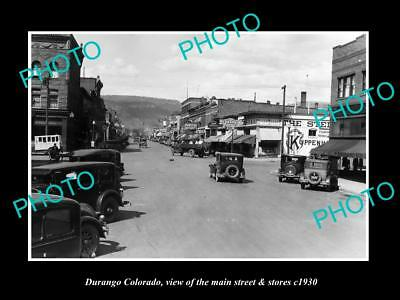 OLD LARGE HISTORIC PHOTO OF DURANGO COLORADO, THE MAIN STREET & STORES c1930