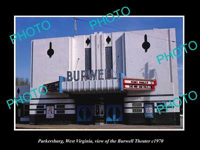 OLD LARGE HISTORIC PHOTO OF PARKERSBURG WEST VIRGINIA, THE BURWELL THEATER c1970