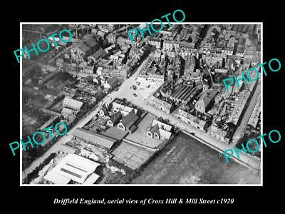 Old Large Historic Photo Of Driffield England, View Of Cross Hill & Mill St 1920