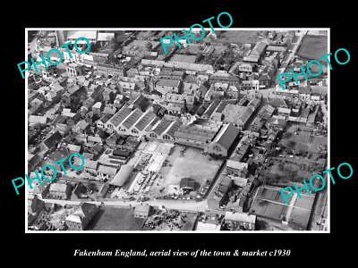 OLD LARGE HISTORIC PHOTO OF FAKENHAM ENGLAND, VIEW OF THE TOWN & MARKET c1930