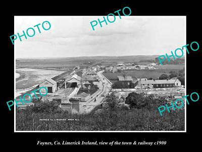 OLD LARGE HISTORIC PHOTO OF FOYNES LIMERICK IRELAND, THE TOWN & RAILWAY c1900