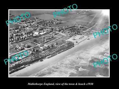 Old Large Historic Photo Of Maplethorpe England, View Of The Town & Beach 1930 1
