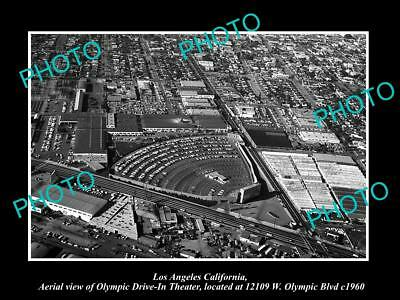 OLD LARGE HISTORIC PHOTO OF LOS ANGELES CALIFORNIA, THE OLYMPIC DRIVE IN c1960
