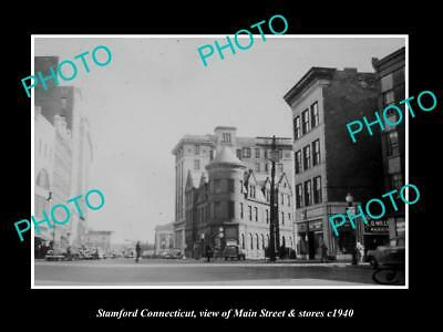 OLD LARGE HISTORIC PHOTO OF STAMFORD CONNECTICUT, THE MAIN ST & STORES c1940 1