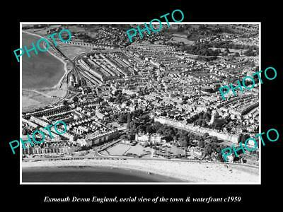 OLD LARGE HISTORIC PHOTO OF EXMOUTH DEVON ENGLAND, THE TOWN & SEAFRONT c1950 2