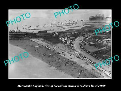 OLD LARGE HISTORIC PHOTO OF MORECAMBE ENGLAND, THE RAILWAY & MIDLAND HOTEL c1920