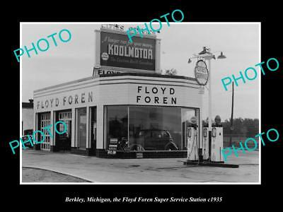 OLD LARGE HISTORIC PHOTO OF BERKLEY MICHIGAN, CITIES OIL SERVICE STATION c1935