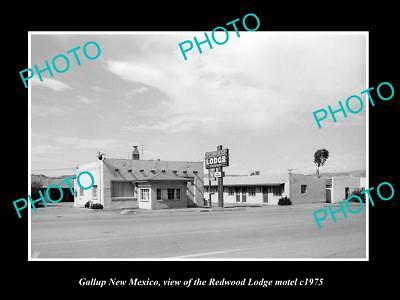 OLD LARGE HISTORIC PHOTO OF GALLUP MEW MEXICO, THE REDWOOD LODGE MOTEL c1975