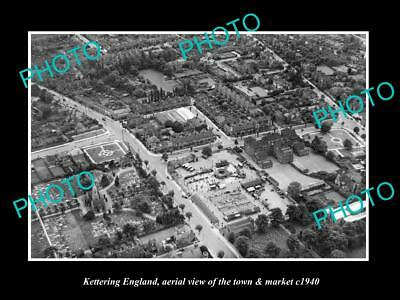 OLD LARGE HISTORIC PHOTO OF KETTERING ENGLAND, VIEW OF THE TOWN & MARKET c1940