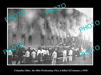 OLD LARGE HISTORIC PHOTO OF COLUMBUS OHIO, THE OHIO PENITENTIARY FIRE c1930
