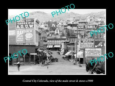 Old Large Historic Photo Of Central City Colorado, The Main Street & Stores 1900