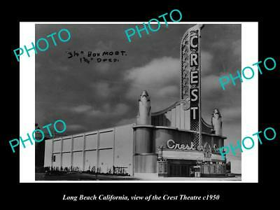 OLD LARGE HISTORIC PHOTO OF LONG BEACH CALIFORNIA, THE CREST THEATRE c1950