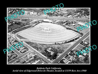 OLD LARGE HISTORIC PHOTO OF BALDWIN PARK CALIFORNIA, THE EDGEWOOD DRIVE IN c1960