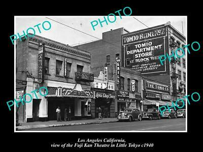 OLD LARGE HISTORIC PHOTO OF LOS ANGELES CALIFORNIA, THE FUJI KAN THEATRE c1940