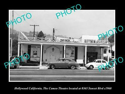 Old Large Historic Photo Of Hollywood California, The Cameo Theatre 1960