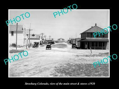 OLD LARGE HISTORIC PHOTO OF STRASBURG COLORADO, THE MAIN STREET & STORES c1920