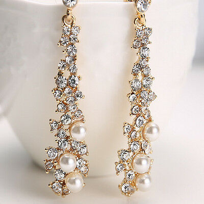 Crystal Women's Pearl Rhinestone Chandelier Earrings Bridal Gold Jewelry Earring