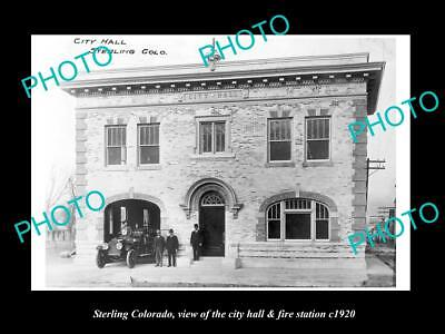 OLD LARGE HISTORIC PHOTO OF STERLING COLORADO, CITY HALL & FIRE STATION c1920