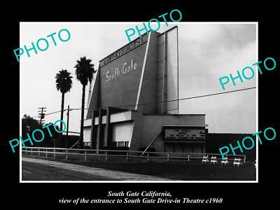 OLD LARGE HISTORIC PHOTO OF SOUTH GATE CALIFORNIA, THE DRIVE IN THEATRE c1960 2