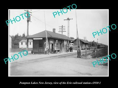 OLD HISTORIC PHOTO OF POMPTON LAKES NEW JERSEY, ERIE RAILROAD STATION c1910 2