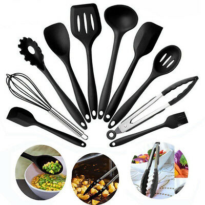 10pcs/Set Silicone Heat Resistant Kitchen Cooking Tool Utensils Non-Stick Baking