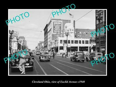 OLD LARGE HISTORIC PHOTO OF CLEVELAND OHIO, VIEW OF EUCLID AVE STORES c1940