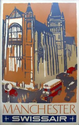 Vintage Swissair Flights to Manchester Airline Poster Print A3/A4