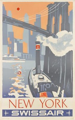 Vintage Swissair Flights to New York Airline Poster Print A3/A4