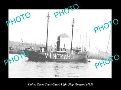 OLD LARGE HISTORIC PHOTO OF UNITED STATES COAST GUARD LIGHT SHIP VINEYARD c1920