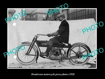 OLD LARGE HISTORIC PHOTO OF HENDERSON MOTORCYCLE PRESS PHOTO 3 c1920